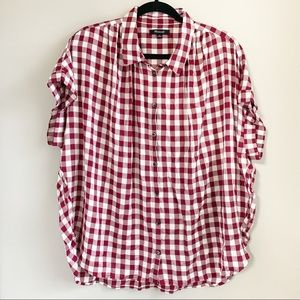 Madewell / Plaid Button Down Short Sleeve Blouse